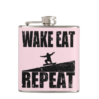 Wake Eat Snowboard Repeat #2 (blk) Hip Flask