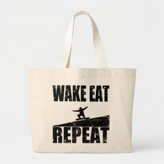 Wake Eat Snowboard Repeat #2 (blk) Large Tote Bag