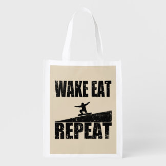 Wake Eat Snowboard Repeat #2 (blk) Reusable Grocery Bag