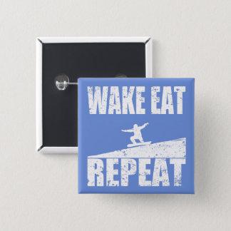 Wake Eat Snowboard Repeat #2 (wht) 2 Inch Square Button