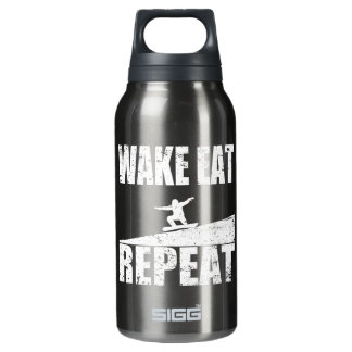 Wake Eat Snowboard Repeat #2 (wht) Insulated Water Bottle