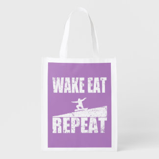 Wake Eat Snowboard Repeat #2 (wht) Reusable Grocery Bag