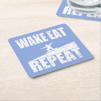 Wake Eat Snowboard Repeat #2 (wht) Square Paper Coaster