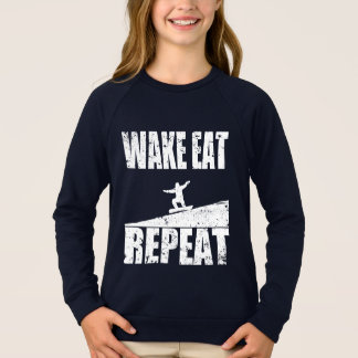 Wake Eat Snowboard Repeat #2 (wht) Sweatshirt