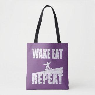 Wake Eat Snowboard Repeat #2 (wht) Tote Bag