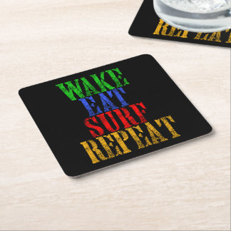 WAKE EAT SURF REPEAT SQUARE PAPER COASTER