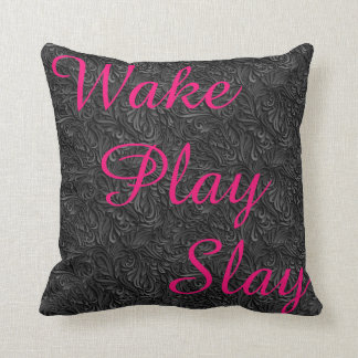 Wake Play Slay White Black and Pink  REVERSABLE Throw Pillow