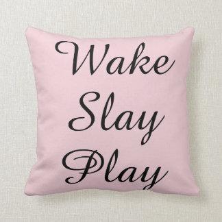 Wake Slay Play Pink Pillow