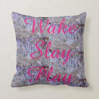 Wake Slay Play Rainbow Crystal Pink  REVERSABLE Throw Pillow