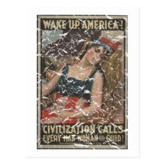 Wake Up-1917 - distressed Postcard