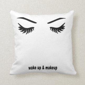 Wake up and makeup throw pillow