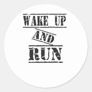 Wake Up and Run Classic Round Sticker