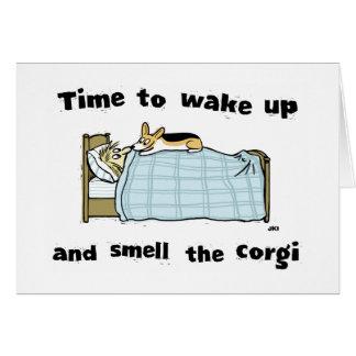 Wake Up and Smell the Corgi Card