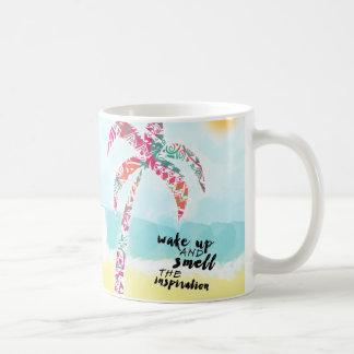 wake up and smell the inspiration, beach and palm coffee mug