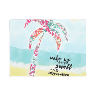 wake up and smell the inspiration, beach and palm doormat