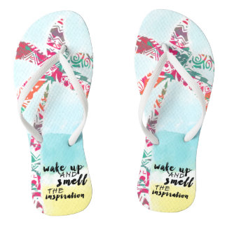 wake up and smell the inspiration, beach and palm flip flops