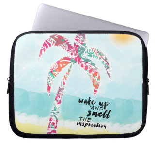 wake up and smell the inspiration, beach and palm laptop sleeve