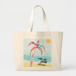 wake up and smell the inspiration, beach and palm large tote bag