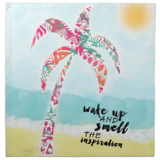 wake up and smell the inspiration, beach and palm napkin