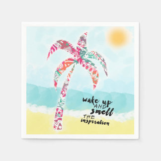 wake up and smell the inspiration, beach and palm paper napkin