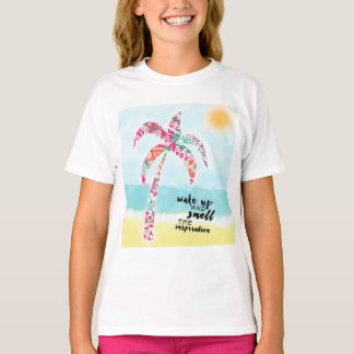wake up and smell the inspiration, beach and palm T-Shirt