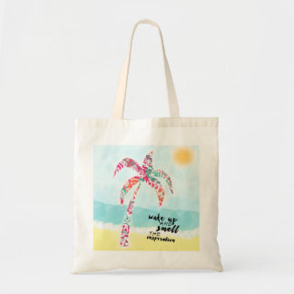 wake up and smell the inspiration, beach and palm tote bag