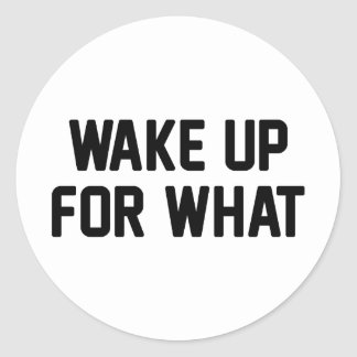 Wake Up For What Classic Round Sticker