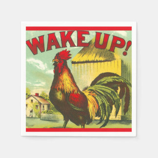 Wake Up Rooster Brunch Vintage Farm Country Decor Paper Napkins