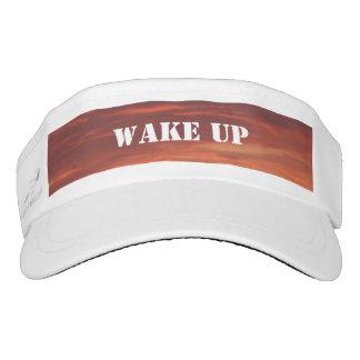 Wake Up Sunrise Custom Woven Visor, White Visor
