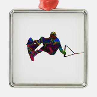Wakeboarder Wild Colours Silver-Colored Square Ornament