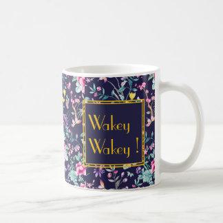 Wakey art deco navy gold flowers personalized mug