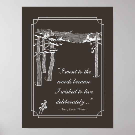 "Walden Quote, ""Live deliberately"" (dark) Poster"