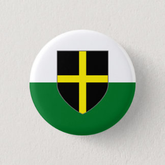 Wales Badge - St. David Shield on Green & White 1 Inch Round Button