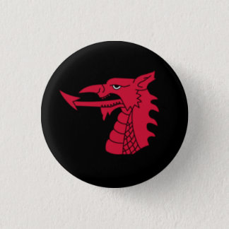 Wales Badge - Welsh Dragon Head on Black 1 Inch Round Button