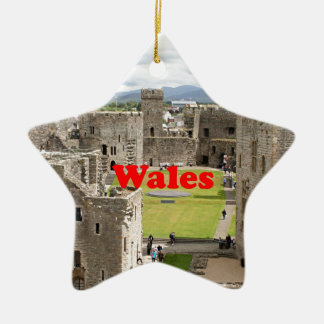 Wales: Caernarfon Castle, United Kingdom Ceramic Star Ornament