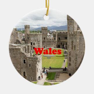 Wales: Caernarfon Castle, United Kingdom Round Ceramic Ornament