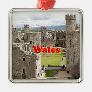 Wales: Caernarfon Castle, United Kingdom Silver-Colored Square Ornament