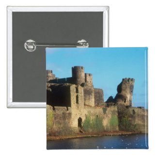 Wales - Caerphilly castle, with a view of the 2 Inch Square Button