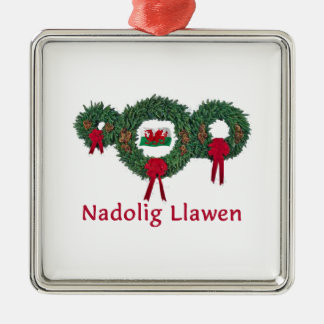 Wales Christmas 2 Silver-Colored Square Ornament