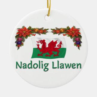 \Wales Christmas Round Ceramic Ornament
