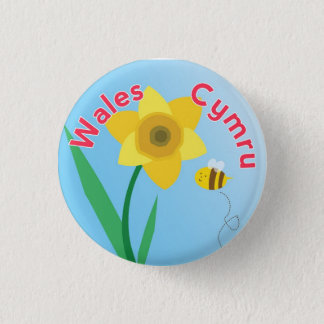 Wales Daffodil Button Pin Badge