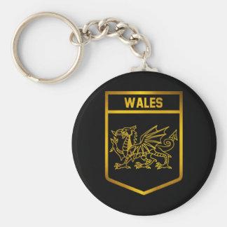 Wales Emblem Basic Round Button Keychain