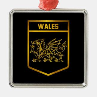 Wales Emblem Silver-Colored Square Ornament