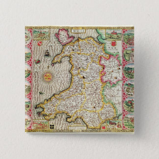 Wales, engraved by Jodocus Hondius 2 Inch Square Button