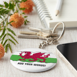Wales Flag Basic Round Button Keychain