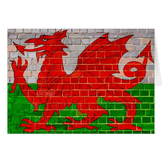 Wales flag on a brick wall card