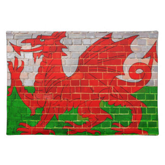 Wales flag on a brick wall placemat