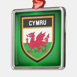 Wales Flag Silver-Colored Square Ornament