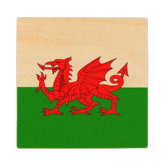 Wales flag wood coaster
