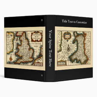Wales - Historic 17th Century Map of Wales Binders